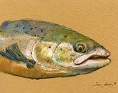 "ORIGINAL-Salmon atlantic salmon - Salmo salar - fly fish fishing wildlife animal 8x5""  art original Watercolor painting by Juan bosco"