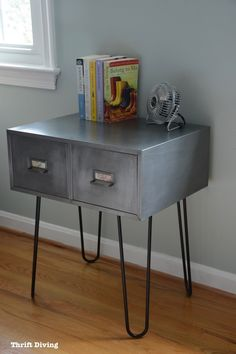 Vintage metal cabinet makeover with hairpin legs - Use as a nightstand or a end table. Lots of industrial furniture options!   Thrift Diving