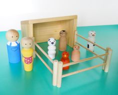5 Gifts, Kids Gifts, Wooden People, Little Barn, Handmade Wooden Toys, Muslin Bags, Baby Rattle, Paint Set, Pretend Play