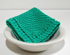 Large Hand Knit Cotton Dishcloth in Mod Green by CustomBearHugs