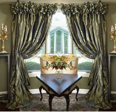 This kind of linen drapes is certainly an extraordinary design approach. Burlap Shower Curtains, Dining Room Curtains, Living Room Drapes, Window Drapes, Drapes Curtains, Valances, Living Room Ides, Tuscan Dining Rooms, Victorian Curtains