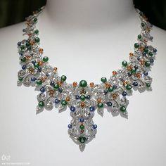 @GiampieroBodino showcased his latest exclusive 'Mediterranea' collection at Paris Haute Couture week. The 'Smeraldi e Opale di' necklace features emeralds, sapphires, diamonds and mandarin garnets to recreate the vivid colours of the Mediterranean!
