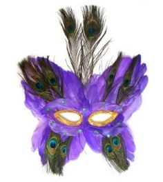 Partygaga Purple Large Peacock Feather MASK for Mardi Gras