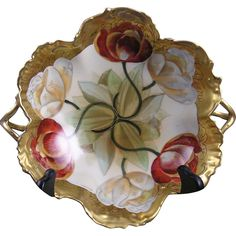 Pickard Studios T&V Limoges Twin Tulip Design Handled Bowl (Signed Schoner for Otto Schoner/c.1905-1910)