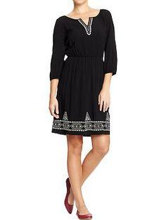 Womens Split-Neck Crepe Dresses