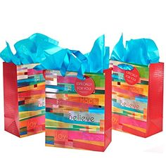 nice 3 Pack: Collage of Color & Blessings Premium Inspirational Gift Bags