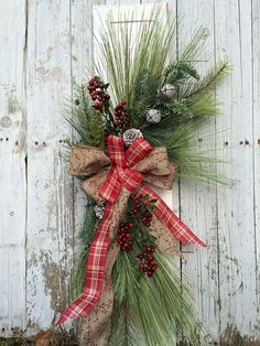 Country Christmas Swag Pine Door Swag by marigoldsdesigns on Etsy
