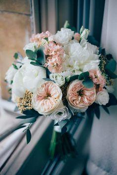 Romantic Peach & White Bridal Bouquet with David Austin Roses | Pastel Wedding at Parkside School in Surrey | Nikki van der Molen Photography | The Modern Revelry Film