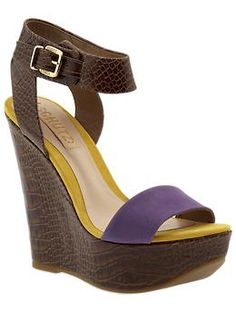 Schutz Casey Wedge on Piperlime.  Haven't tried this brand, but looks fabulous!  Also a fan of the Laker colors.  =P