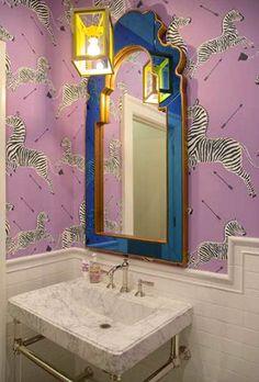 Sassy and preppy bathroom by Liz Caan.