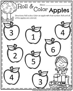 Preschool Worksheets for Back to School - Roll, Count and Color Apples. Preschool Apple Theme, Fall Preschool Activities, Apple Activities, Preschool Printables, Preschool Math, Kindergarten Worksheets, Preschool Apples, Preschool Colors, Learning Activities
