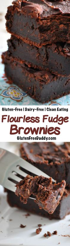 These gluten-free flourless brownies are a rich dense and decadent chocolate treat. But I love that they are made from chickpeas and cashews so they are full of fiber healthy fats and protein! Gluten Free Baking, Gluten Free Desserts, Dairy Free Recipes, Vegan Desserts, Dessert Recipes, Cake Recipes, Dessert Ideas, Healthy Sweets, Healthy Baking