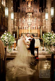"Brides.com: A Glamorous Wedding at the Plaza Hotel. Melissa and José Andrés wed in sight of two towering arrangements of French tulips, garden roses, and camellia branches. ""The church is so magnificent, we only put flowers on the altar and the door,"" says the bride. The groom's family priest, Father José Juan Cardona, officiated the ceremony. The couple recited the Catholic wedding liturgical vows."