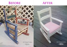 Upholstering a kid's rocking chair. Need to do this to the kids rocking chair! Toddler Rocking Chair, Old Rocking Chairs, Rocking Chair Makeover, Rocking Chair Cushions, Childrens Rocking Chairs, Reclaimed Furniture, Refurbished Furniture, Repurposed Furniture, Kids Furniture