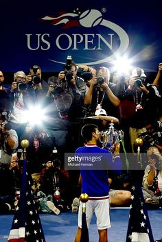 Novak Djokovic of Serbia celebrates with the winner's trophy after Men's Singles Final match of the 2015 US Open (Photo by Michael Heiman) House Art, Sport Photography, Roger Federer, Great Photos, Fun Things, Tennis, Framed Prints, The Incredibles, Events