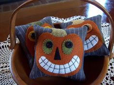 Jack-O-Lantern Bowl Filler Pillow Tucks Cute FACS project for Clothing and Textiles;  Vintage-Inspired Jack-O-Lantern Bowl Filler Pillow Tucks