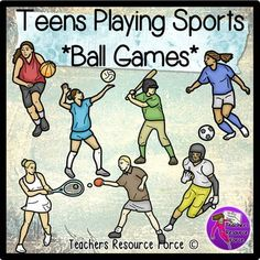 Teenagers Playing Sports *ball games* clip art - color and black line