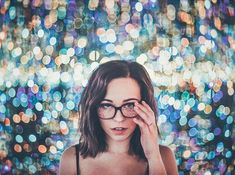 Brandon woelfel   mirrored room @ the broad portrait bokeh infinite rainbow mirrors reflection