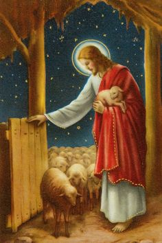 The Good Shepherd, leads his flock to salvation and cares for the young and the needy. Jesus Our Savior, Jesus Is Lord, Religious Pictures, Jesus Pictures, Christian Images, Christian Art, Catholic Art, Religious Art, Cry Out To Jesus