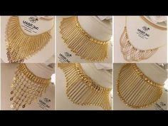 Gold Jewelry Design In India Light Weight Gold Jewellery, Gold Jewelry Simple, Dubai Gold Jewelry, Gold Jewellery Design, Jewelry Designer, Gold Choker Necklace, Gold Necklaces, Gold Bangles, Jewellery Earrings
