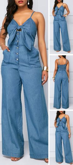 This jumpsuit with Spaghetti Strap can make you look much sexier and Knot Front design make you full of charm,you can wear it to your party or wear it at your daily time is very suitabe,get one you like. Source by frescos Curvy Women Fashion, Womens Fashion, Ladies Fashion, Denim Fashion, Fashion Outfits, Spring Fashion, Jumpsuits For Sale, Jeans Overall, Casual Chique