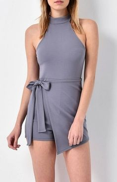 Gray bodycon romper with wrap front and side tie! Shop www.yipsy.net