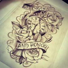 Tattoo relógio com rosas