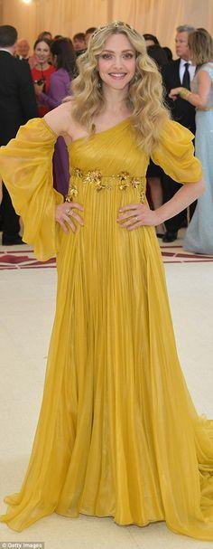 Yellow vibes:Huma Abedin (l) andAmanda Seyfried (r) both chose the hue, opting for one s...