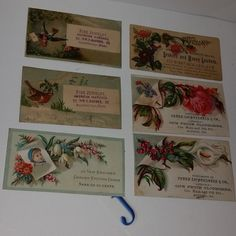 6 Victorian advertising trade cards with flowers roses small antique illustrations ephemera old paper art supplies vintage scrap J