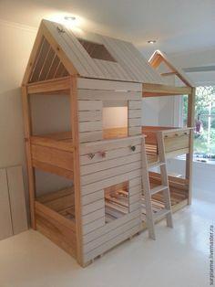 Купить Двухъярусная кровать домик - бежевый, кровать, кровать из дерева, кровать детская, кровать на заказ