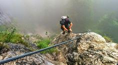 Klettersteig auf den Grünstein in Berchtesgaden kurz nach dem Einstieg