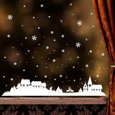 """Wandgestaltung - Fensteraufkleber: """"Winterdorf"""" mit Schneeflocken - ein Designerstück von wandtattoo-loft bei DaWanda"""