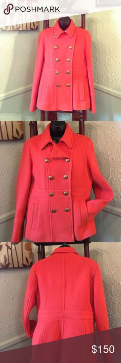 J. Crew Pea Coat Great used condition J. Crew Pea Coat. Vibrant Orange in color. The top left collarbone button is missing and the left waistline button was replaced. 👀photos. (blouse not included) Thank you for checking out ✅👀 my closet😄🎊HAPPY POSHING🎊 J. Crew Jackets & Coats Pea Coats