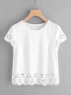 SheIn offers Scallop Edge Laser Cut Top & more to fit your fashionable needs. Casual Outfits, Cute Outfits, Fashion Outfits, Womens Fashion, Blouse Styles, Blouse Designs, Fashion Online Shop, Mode Top, Kind Mode