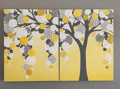Yellow and Gray Textured Tree x24 Custom