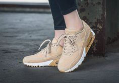 The Nike Air Max 90 Beige Suede is a women's colorway of the model and it's available now. Mod Fashion, Fashion Boots, Sporty Fashion, Womens Fashion, Fashion Trends, Fashion Black, Fashion Models, Winter Fashion, Curvy Petite Fashion