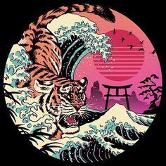 Japanese Pop Art, Japanese Tattoo Art, Japanese Tiger, Art Sketches, Art Drawings, Tiger Drawing, Japon Illustration, Posca Art, Diy Canvas Art