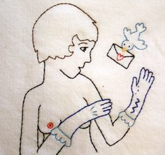Flapper Lady with Valentine  Mature  Hand Embroidered by tidycloth, $34.75