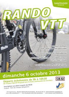 Affiche pour la Rando VTT. Dimanche 6 octobre 2013, à Saint-Dizier. Création originale.