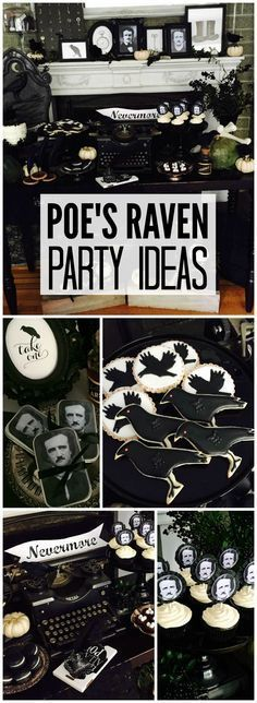 Pin for Later: spooky halloween food. This gothic Halloween party is inspired by The Raven by Edgar Allan Poe! See more party ideas at. Halloween Dinner, Cute Halloween Costumes, Holidays Halloween, Spooky Halloween, Halloween Themes, Halloween Crafts, Happy Halloween, Halloween Makeup, Gothic Halloween Decorations