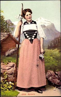 Postcard Bernerin, Bern Schweiz, Junge Frau in Landestracht, Stock, Korsett