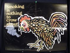Vintage PSA Anti Smoking Poster Rooster by vintagegoodness on Etsy, $12.95