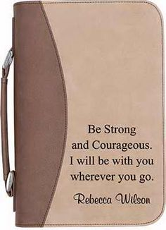 ENGRAVABLE BIBLE COVER W/HANDLE-FAUX LEATHER-TAN/BROWN ,  Easily protect the most important book in your library using this two-tone faux leather, personalized Bible cover. Great for around the house, on the road, and at church. Includes one exterior pocket, convenient handle, and zippered enclosure.  Personalized Price $32.00  http://www.faithinstore.com/ProductInfo.aspx?id=518117&templateid=34