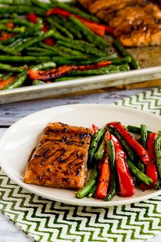 Roasted Asian Salmon and Green Beans Sheet Pan Meal found on KalynsKitchen.com [low-carb,  gluten-free, dairy-free, and South Beach Diet friendly]