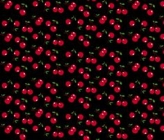 Cherries Red X Black Fabric By Mezzo On Spoonflower