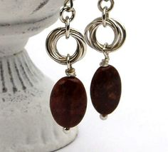chainmaille and jasper silver earrings chainmail by DesignsbyCaz, £16.00
