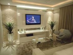 Diseño de interior line up haircut styles - Haircut Style Living Room Tv, Living Room Modern, Interior Design Living Room, Living Room Designs, Living Spaces, Style Salon, Tv Wall Decor, Home Theater Design, Design Case