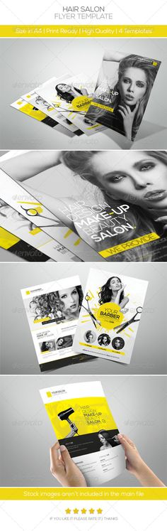 Premium Hair Salon Flyer #GraphicRiver Features: • 4 different styles included • Fully Editable Files (w Guidelines) • Well Organized Layers • A4 size(3mm Bleeds) • 300DPI | CMYK Colors | Print ready • Help file included Fonts: • Nexa fontfabric /nexa-free-font • Lato .fontsquirrel /fonts/lato Important Stock images aren't included, I used it for the illustration purpose only (plz contact me if you want the download link) Created: 6June13 GraphicsFilesIncluded: PhotoshopPSD