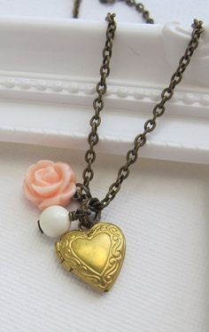 Pink Rose Heart Photo Locket Necklace