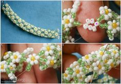 Tute for more traditional daisy rope chain. (Translate) for the kiddies Seed Bead Patterns, Jewelry Patterns, Beading Patterns, Seed Bead Jewelry, Bead Jewellery, Beaded Jewelry, Beaded Bead, Seed Beads, Beading Techniques